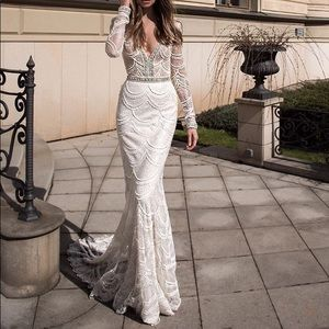 Berta All Over Beaded and Lace Wedding Gown